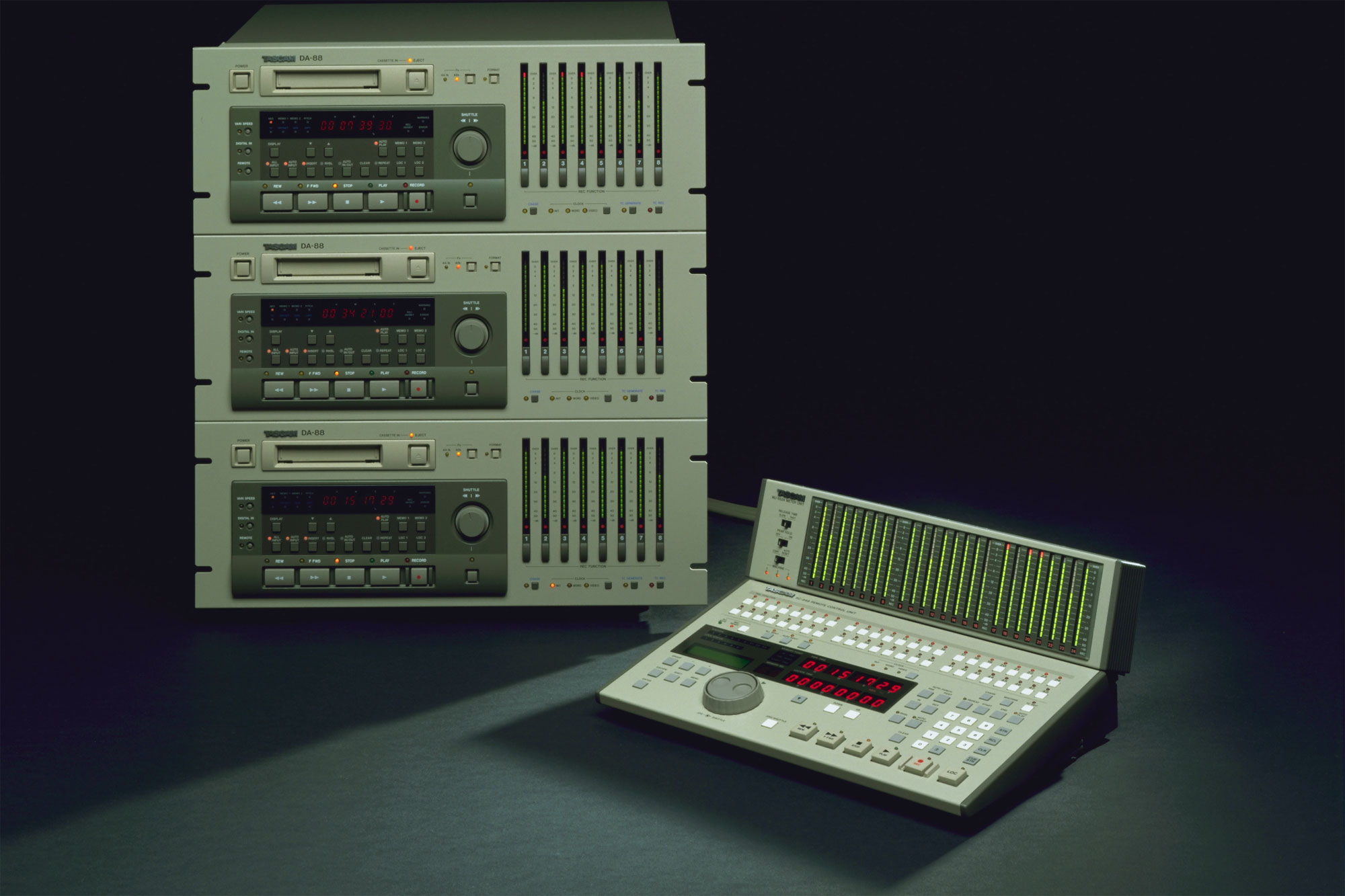 A 24 track DA-88 system with RC-848 controller and meter bridge