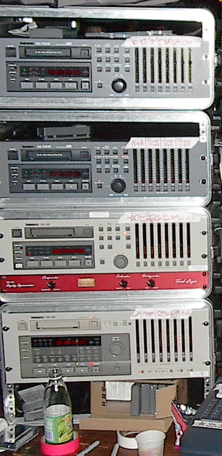 A 32 track DTRS system: DA-78HR, DA-78HR, DA-38, and DA-88, with tapes